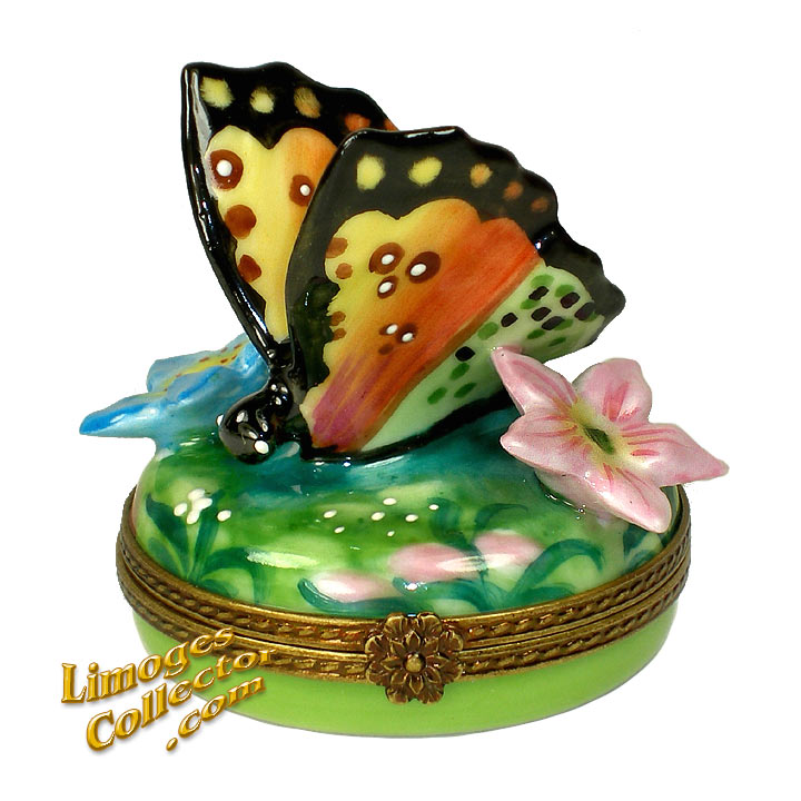 Colorful Butterfly Among Flowers Limoges Box by Beauchamp | LimogesCollector.com