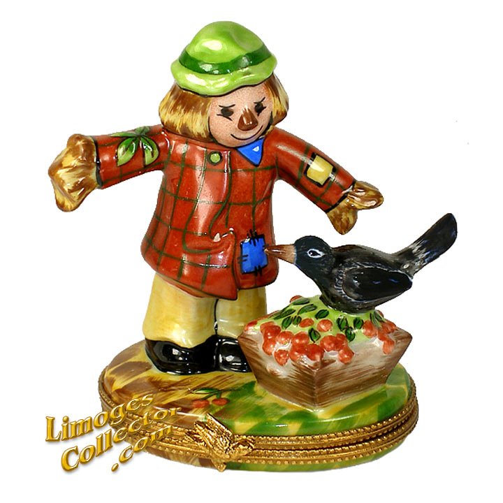 Scarecrow with Crow Limoges Box by Beauchamp Limoges | LimogesCollector.com