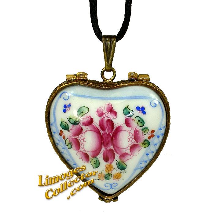 Floral Heart Pendant Limoges Box | LimogesCollector.com