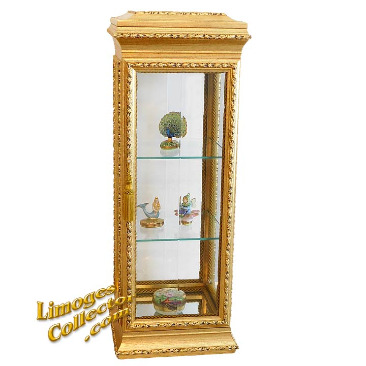 Italian Gold Curio Display Cabinets perfect for Limoges Boxes | LimogesCollector.com