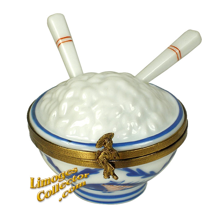 Rice Bowl with Chopsticks Limoges Box | LimogesCollector.com