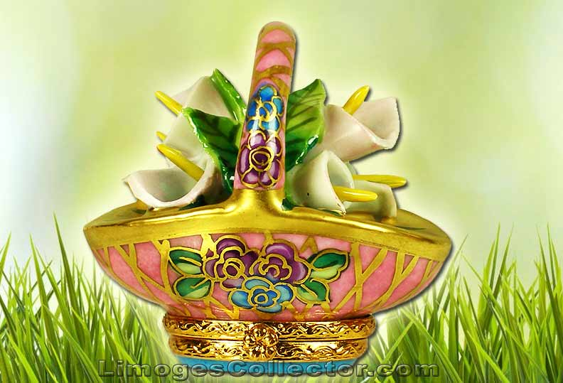 Easter Basket Limoges box with Cala Lilies by Beauchamp | LimogesCollector.com