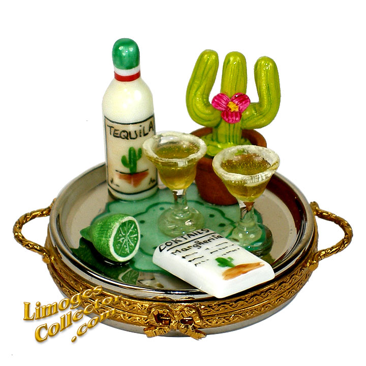 MARGARITA COCKTAILS TRAY WITH TEQUILA AND CACTUS LIMOGES BOX (BEAUCHAMP)
