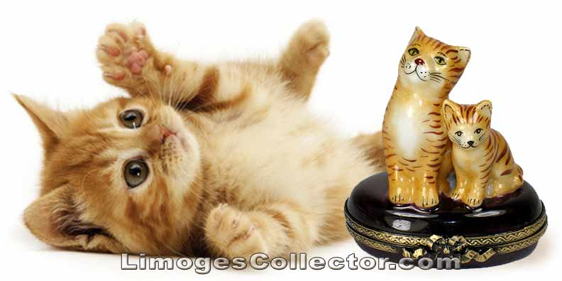Cat with Kitty Cat Limoges Box | LimogesCollector.com