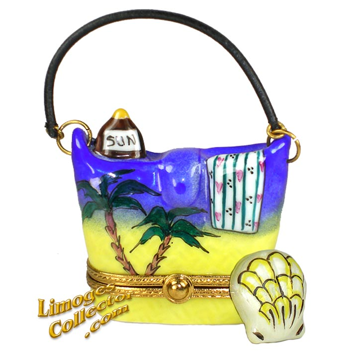 Beach Bag with Sea Shell Limoges Box by Beauchamp Limoges | LimogesCollector.com