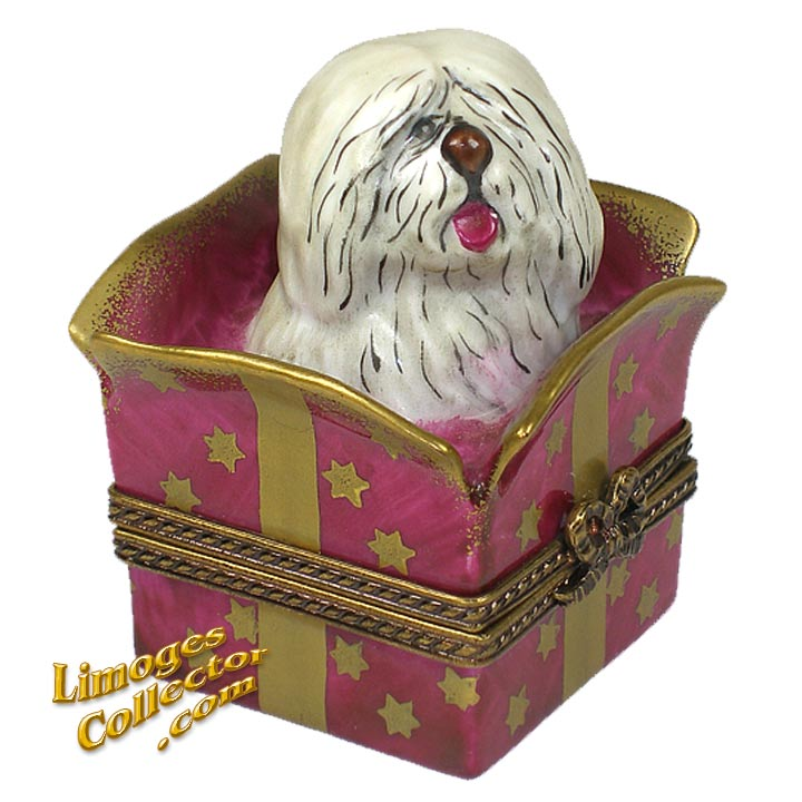 Dog in a Red Gift Box | LimogesCollector.com