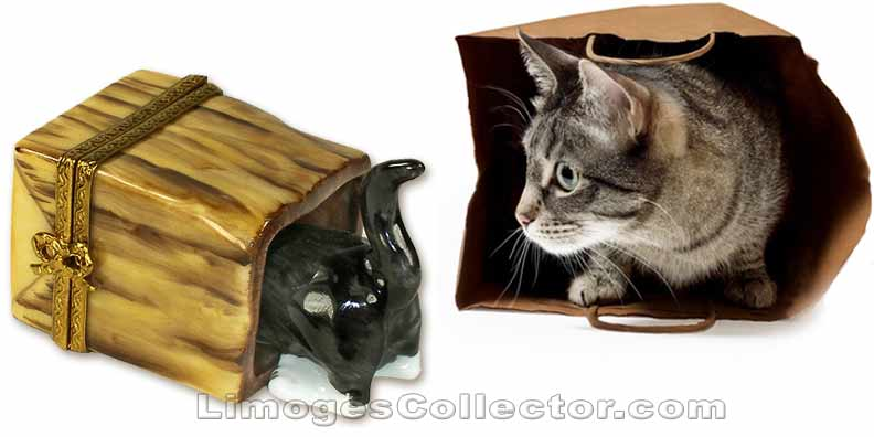 Cat in a Bag Limoges Box by Beauchamp Limoges | LimogesCollector.com