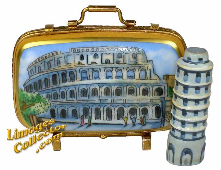 Italy Suitcase Hand-Painted Limoges Box with Tower of Pisa | LimogesCollector.com