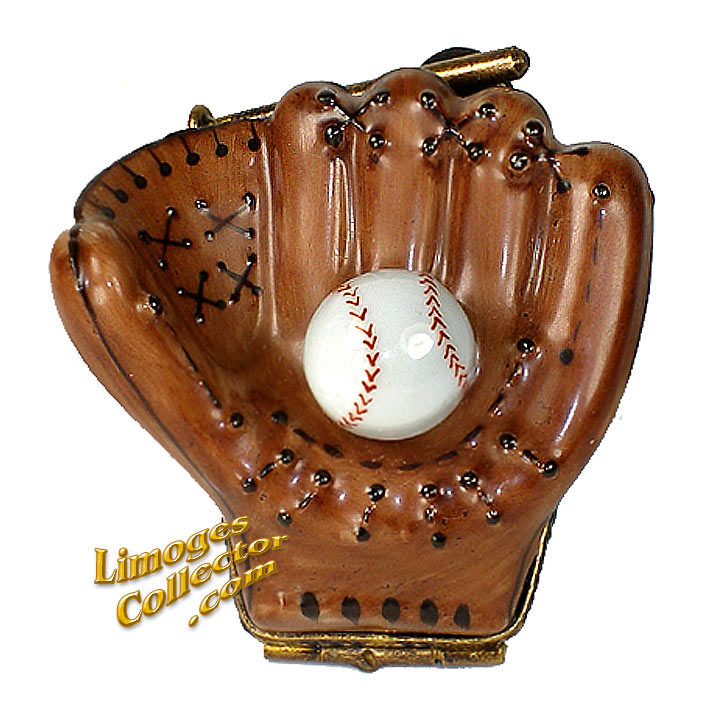Baseball Glove with Baseball Limoges Box | Limogescollector.com