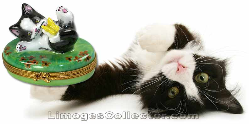 Kitty Cat Playing with Butterfly Limoges Box | LimogesCollector.com