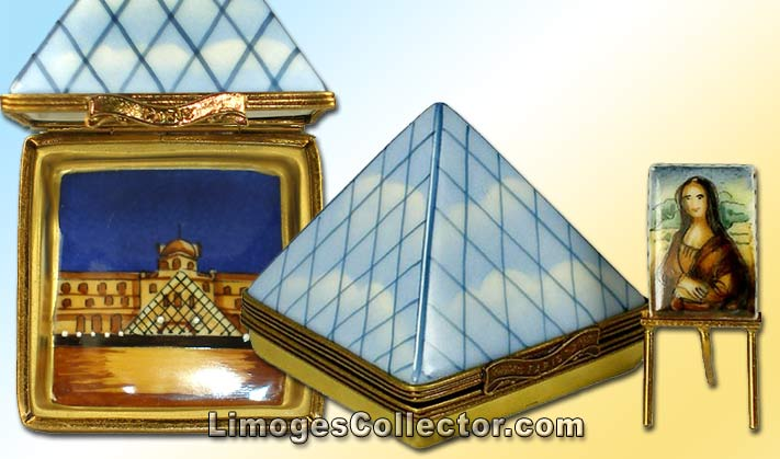 Louvre Museum Pyramid and Mona Lisa Painting Limoges Box | LimogesCollector.com