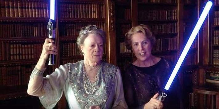 Dowager Countess Lady Violet and Isobel Crawley with light sabers