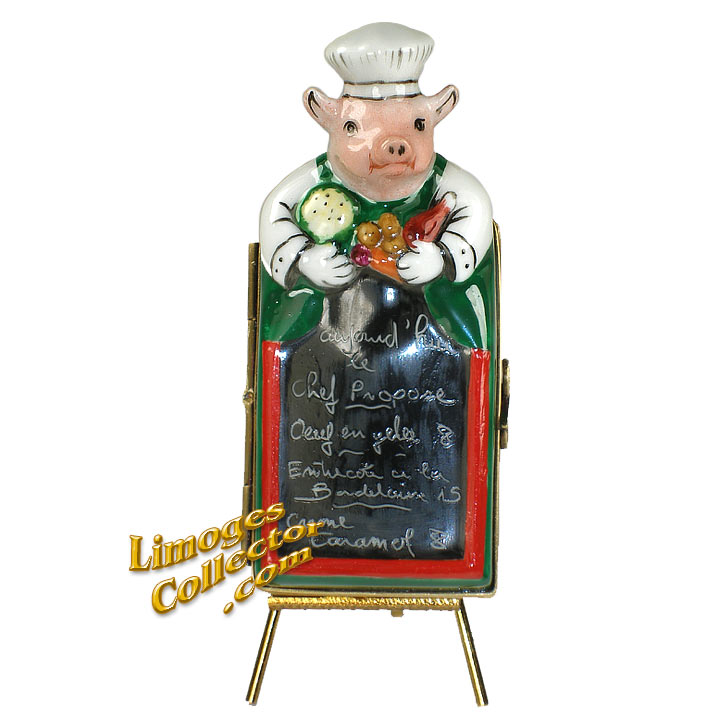 Pig Chef Menu Board Limoges Box | LimogesCollector.com