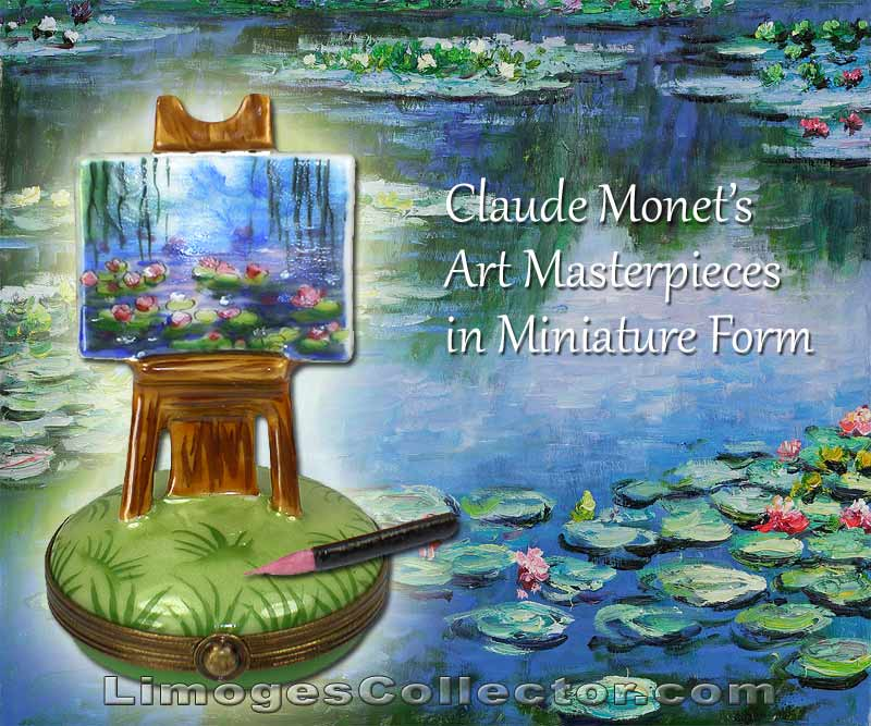 Monet's Water Lily Painting on Easel Limoges Box by Beauchamp | LimogesCollector.com