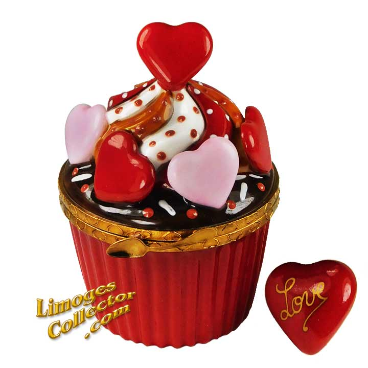 Valentines Hearts Cupcake Limoges Box by Beauchamp | LimogesCollector.com