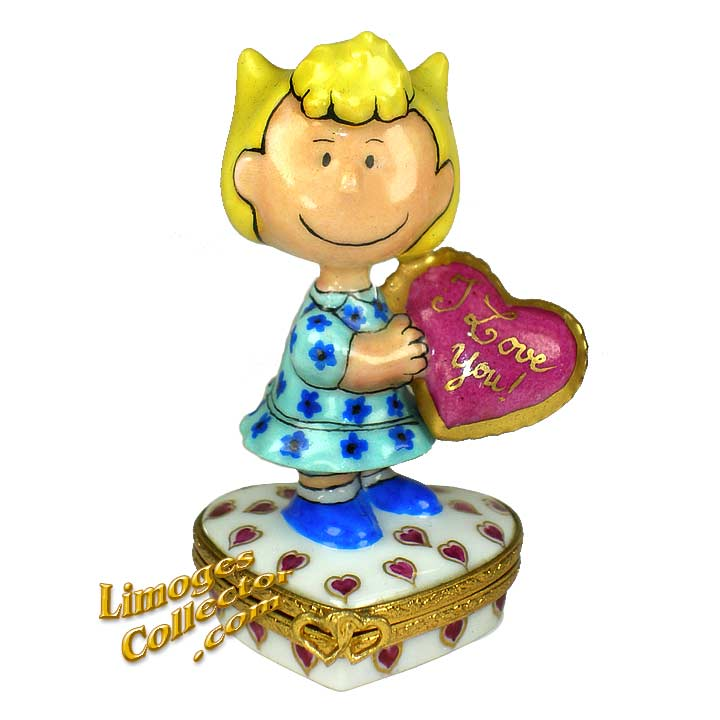 "Peanuts ""Sally"" with Valentine Heart Limoges Box 