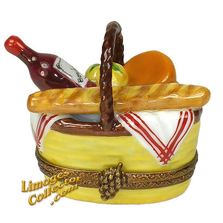 Wine, Cheese & French Bread Picnic Basket Limoges Box | LimogesCollector.com