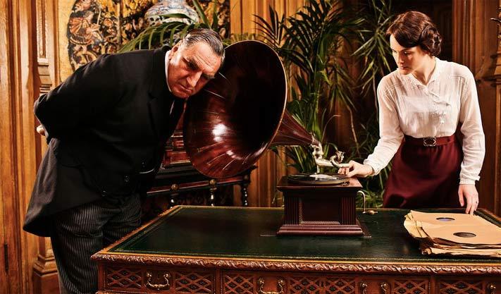 Mr. Carson of Downton Abbey checks the grammaphone