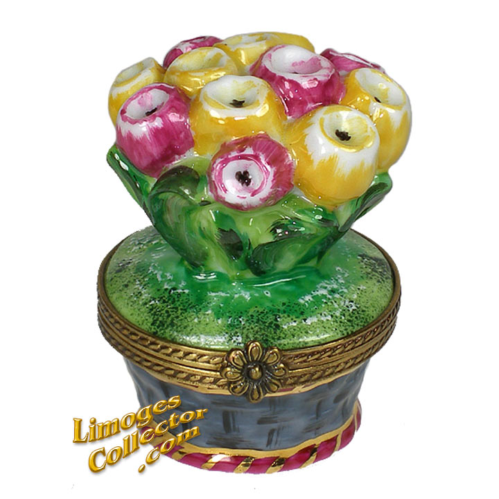 Red & Yellow Tulips in Flower Pot Limoges Box | LimogesCollector.com