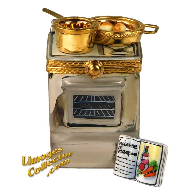 Stove Oven with Pots and Cookbook Limoges Box by Beauchamp | LimogesCollector.com