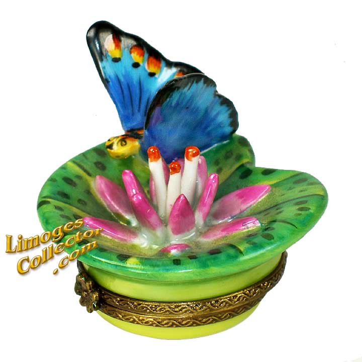 Butterfly on Lily Pad Limoges Box   LimogesCollector.com