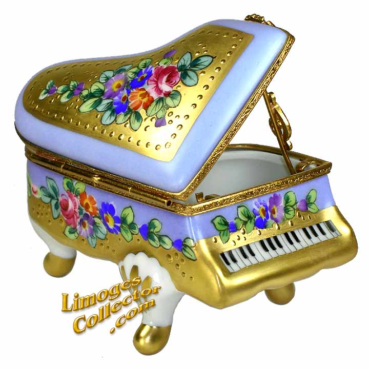 Floral Piano Limoges box by Beauchamp | LimogesCollector.com