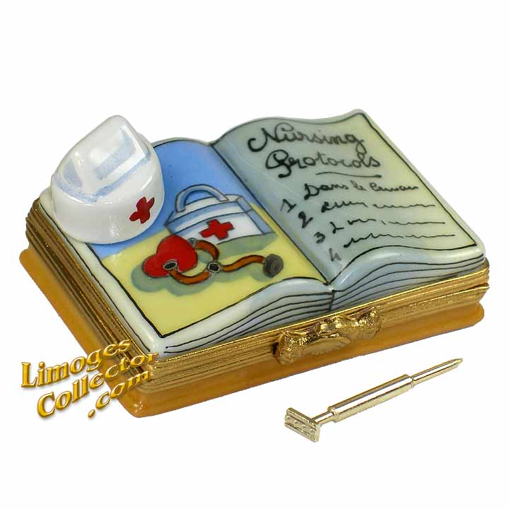 Nurse Book with Nurse Hat, Syringe & First Aid Limoges Box | LimogesCollector.com