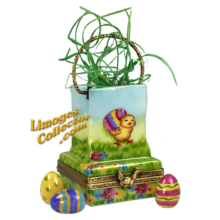 Easter Egg-Hunt Bag with Chick and Colored Eggs Limoges Box | LimogesCollector.com