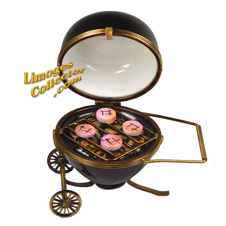 Barbecue Grill with Hamburgers Limoges Box | LimogesCollector.com