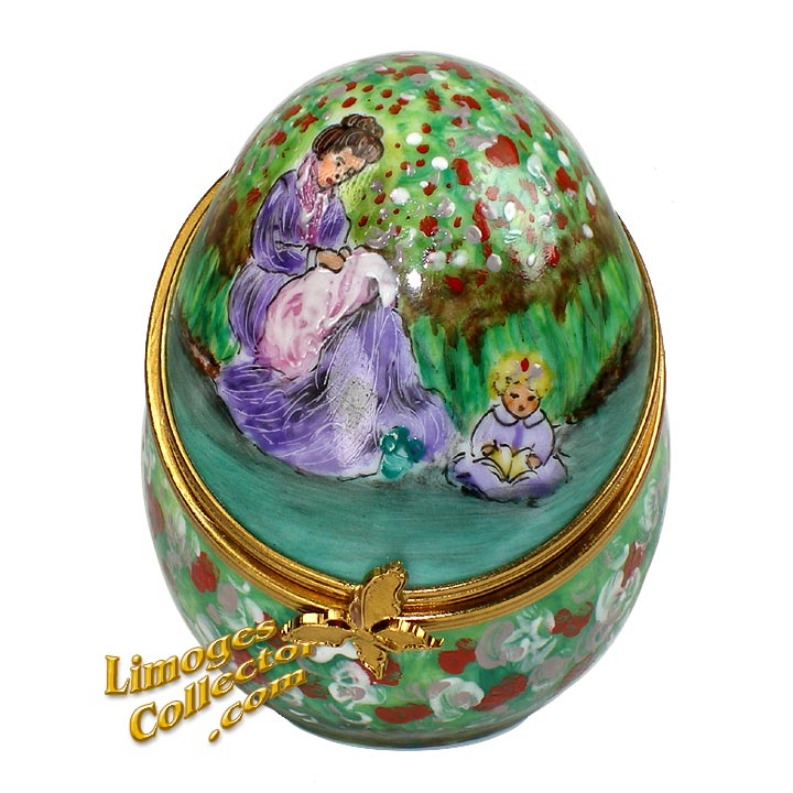 Monet Mother and Child Hand-Painted Egg Limoges Box | LimogesCollector.com