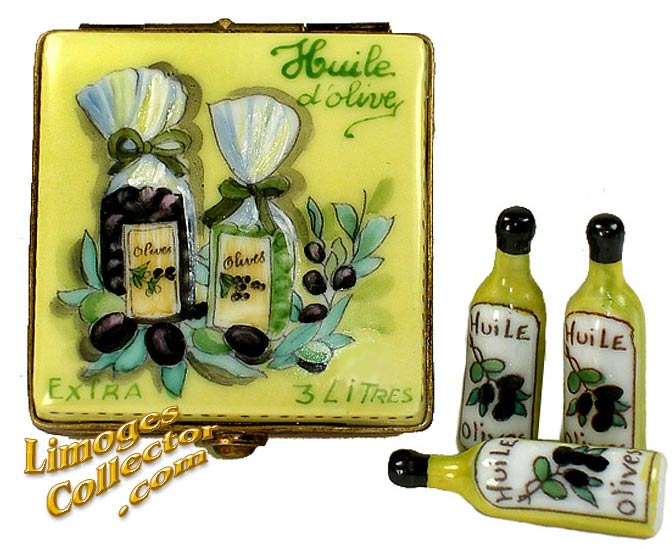 Olive Oil Box with 3 Bottles Limoges Box | LimogesCollector.com