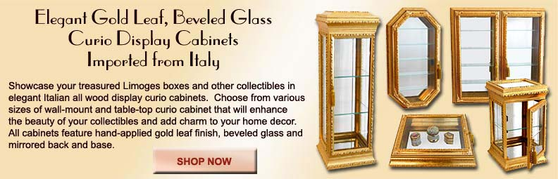 Italian Gold Curio Cabinets for your Limoges Boxes and other Collectibles | LimogesCollector.com