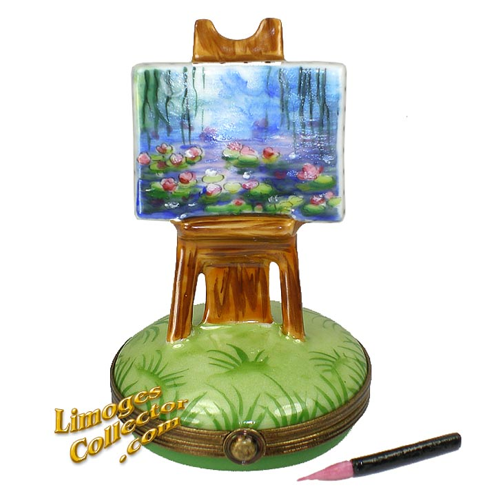 Monet Water Lilies on Easel Painting Limoges Box by Beauchamp | LimogesCollector.com