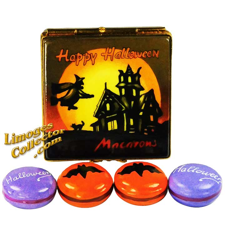 Halloween Haunted House with Macarons Limoges Box by Beauchamp Limoges