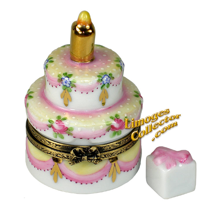 Ivory and Rose Birthday Cake Limoges Box | LimogesCollector.com