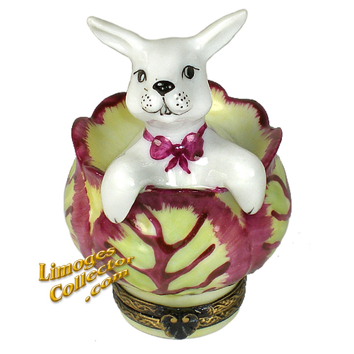 Bunny Rabbit Inside Cabbage Limoges Box by Rochard | LimogesCollector.com