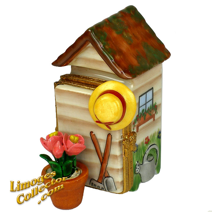 Garden Shed with Tools, Hat and Flower Pot Limoges Box by Beauchamp | LimogesCollector.com