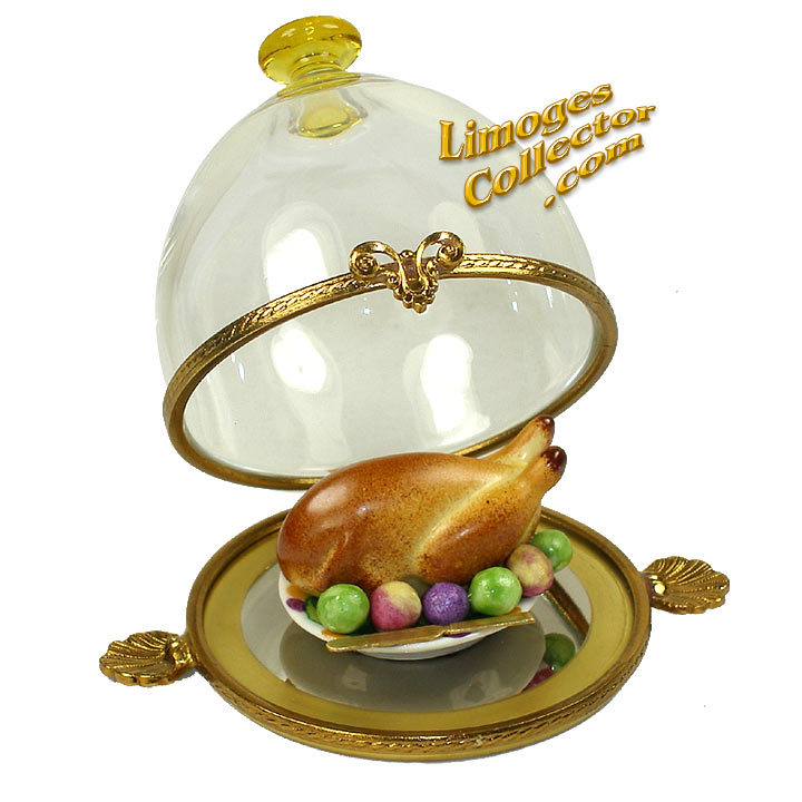 Turkey Platter under Glass Dome Limoges Box by Beauchamp | LimogesCollector.com