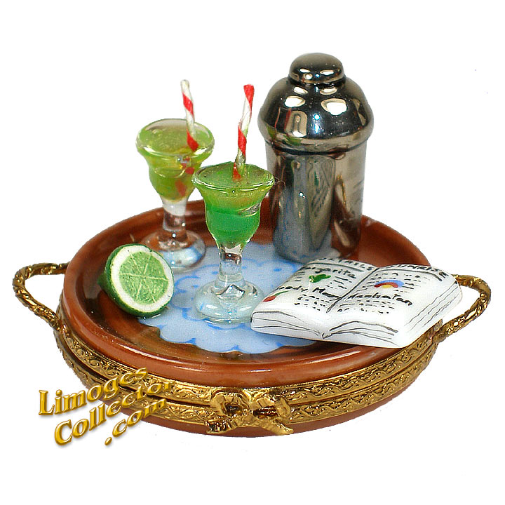Cocktails Tray Limoges Box by Beauchamp | LimogesCollector.com