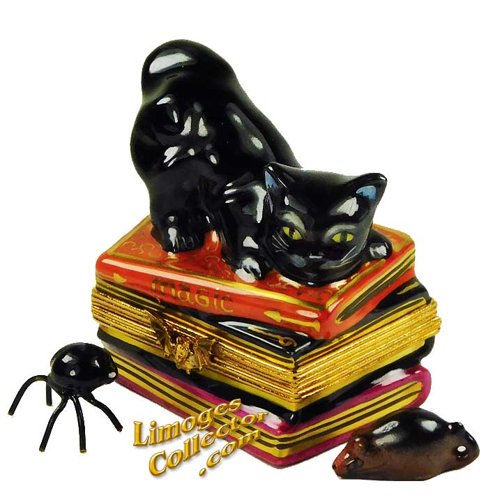 Black Cat on Magic Spell Books Limoges Box by Beauchamp Limoges