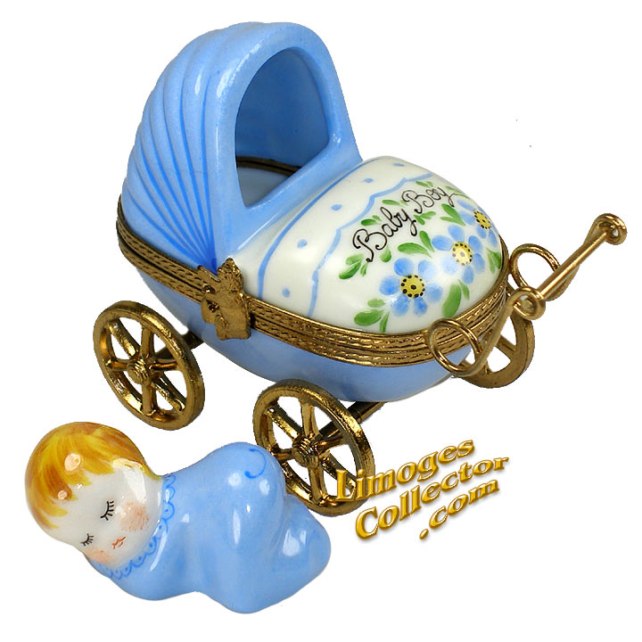 Baby Boy Carriage Limoges Box | LimogesCollector.com