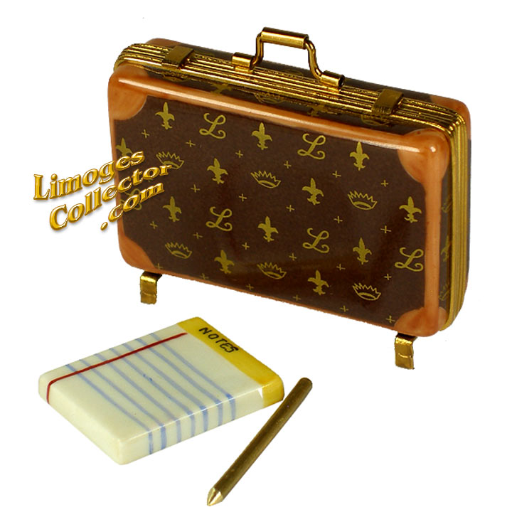 Designer Briefcase with Notepad Limoges box by Beauchamp | LimogesCollector.com