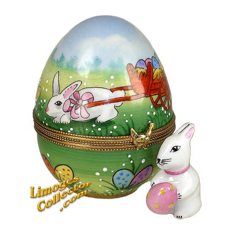 Easter Egg with Bunny Rabbits Limoges Box | LimogesCollector.com
