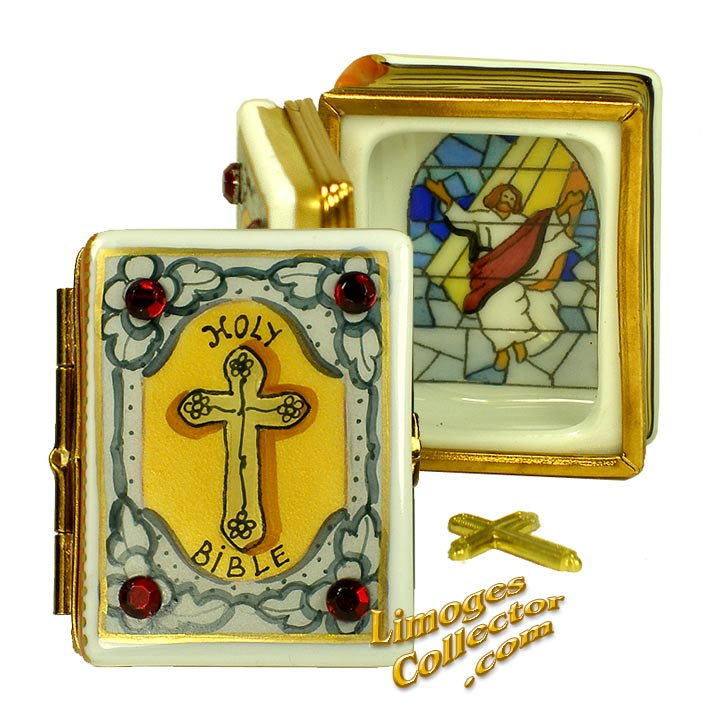 Holy Bible with Stained Glass Painting Limoges Box by Beauchamp | LimogesCollector.com