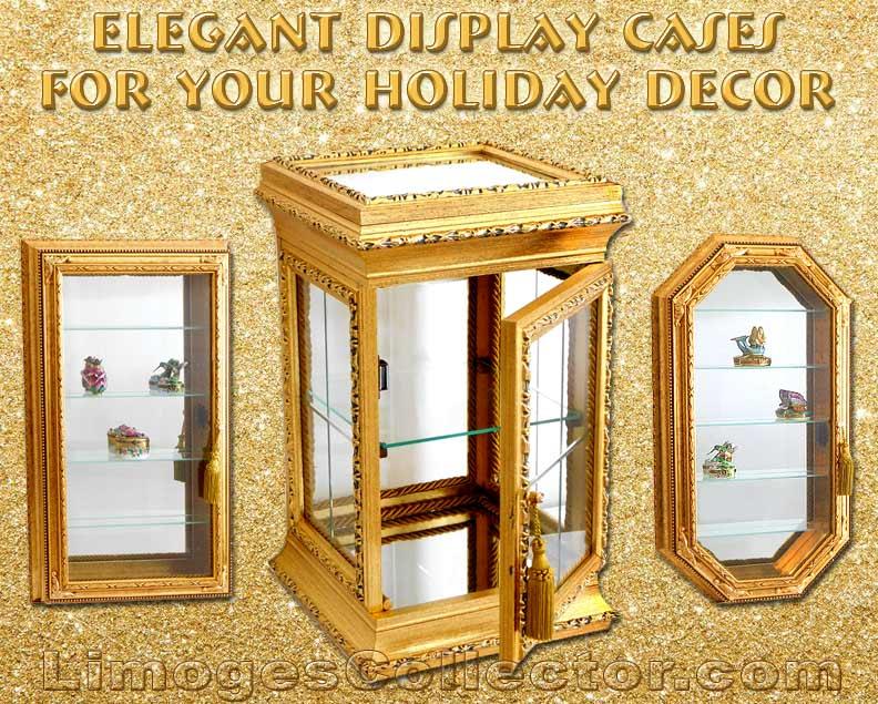 Italian Gold Curio Cabinets   LimogesCollector.com