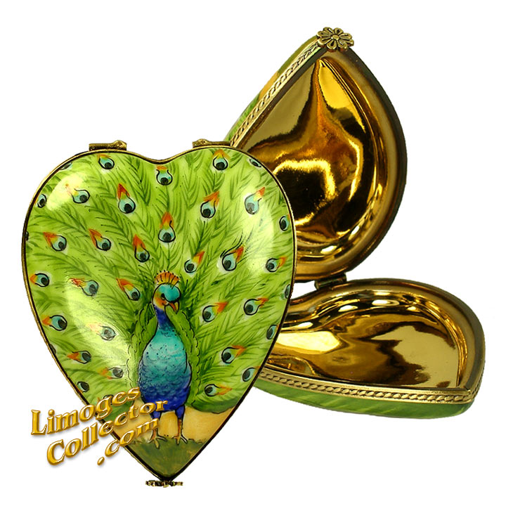 Peacock Heart Limoges box with 24K Gold Interior by Beauchamp | LimogesCollector.com