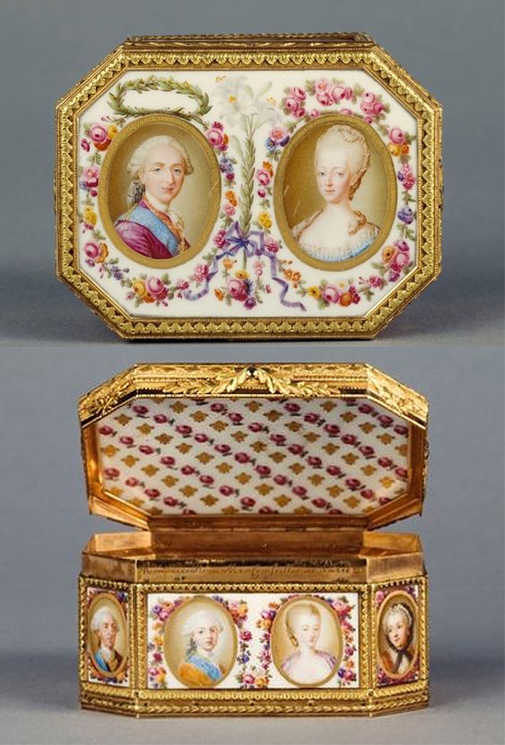 Limoges porcelain and gold snuffbox, created for Louis XVI's coronation