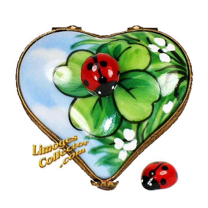 Heart with Ladybugs Limoges Box by Beauchamp   LimogesCollector.com