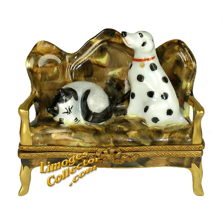 Dog and Cat on Sofa Limoges Box | LimogesCollector.com