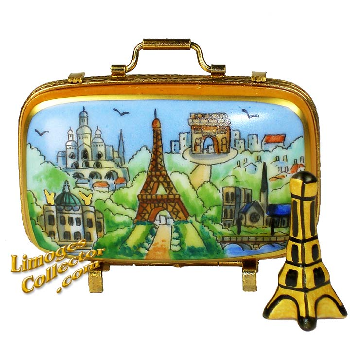Paris Landmarks Suitcase with Eiffel Tower Limoges Box by Beauchamp Limgoes
